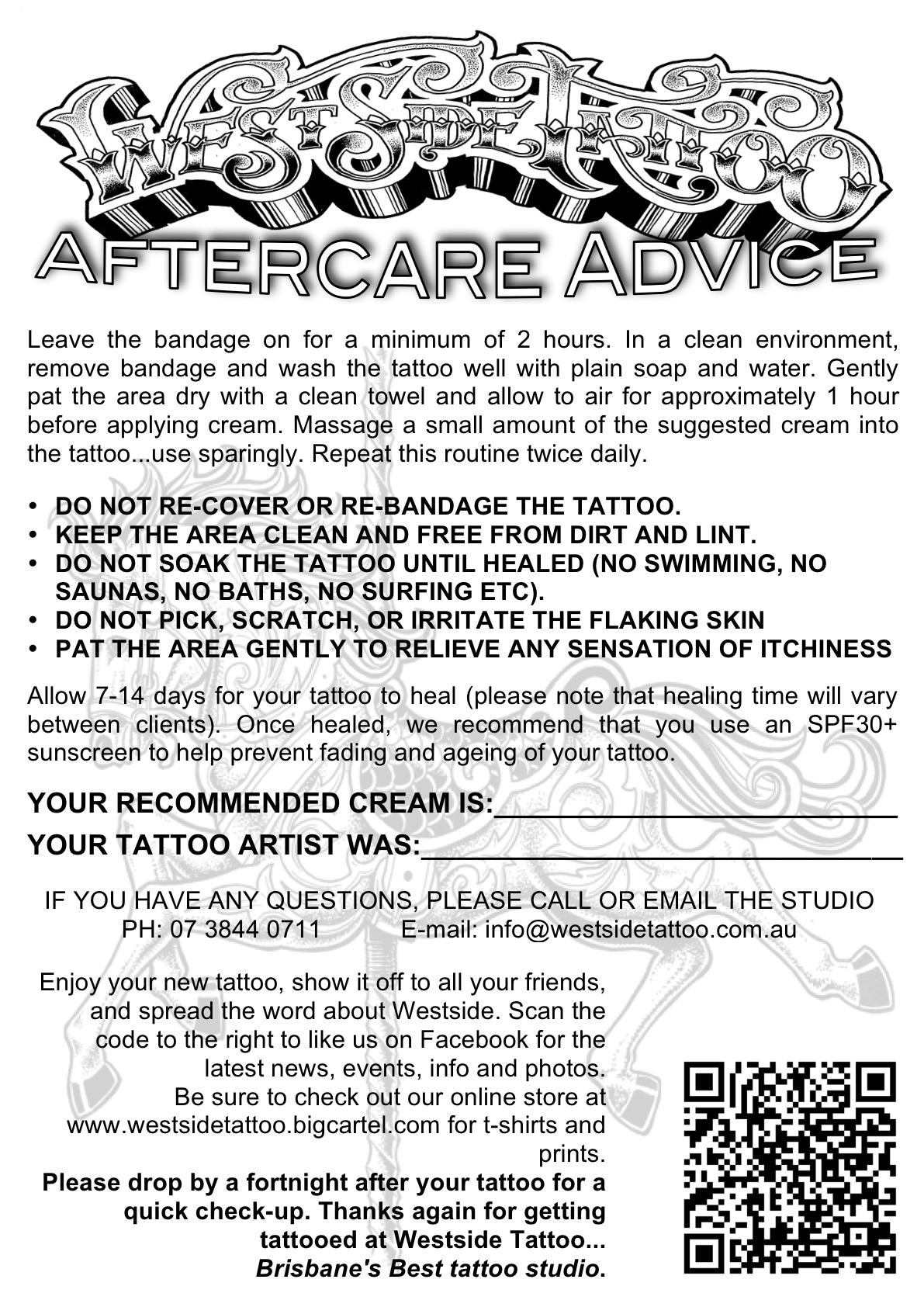 Aftercare advice – Westside Tattoo